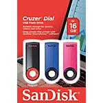 Clé USB SanDisk Cruzer Dial 16 Go Noir, bleu, rose 3 Unités