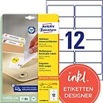 Mini étiquettes Avery L4743REV 25 Multi usages Repositionnables 99,1 x 42,3 mm Blanc 30 Feuilles de 12 Étiquettes