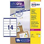 Étiquettes d'adresse Avery L7163 100 Autocollantes 99,1 x 38,1mm Blanc 100 Feuilles de 14 Étiquettes