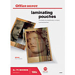 Pochettes de Plastification Office Depot Brillant 2 x 75 (150) Micron A4 Transparent 100 Unités