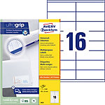 Étiquettes universelles AVERY Zweckform 3423 Ultragrip Blanc A4 105 x 35 mm 100 Feuilles de 16 Étiquettes