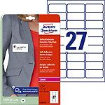 Badges adhésifs en tissu Avery L4784 20 63,5 x 29,6 mm Blanc Rectangulaire 20 feuilles de 27 étiquettes