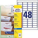 Étiquettes d'adresses Avery J4791 25 Blanc 1200 unités