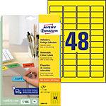Étiquettes repositionnables AVERY Zweckform L6041 20 Adhésif permanent Jaune 45,7 x 21,2 mm 20 Feuilles de 48 Étiquettes