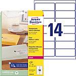 Étiquettes d'adresse Avery L7563 25 Autocollantes 99,1 x 38,1mm Transparentes 25 Feuilles de 14 Étiquettes