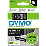 Étiquettes DYMO 45021 Blanc sur Noir 12 mm x 7 m