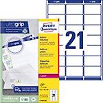 Étiquettes d'adresse Avery L7160 250 Autocollantes 63,5 x 38,1mm Blanc 250 Feuilles de 21 Étiquettes