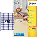 Étiquettes repositionnables Avery L4730REV 25 A4 Blanc 17.8 x 10 mm 25 Feuilles de 270 Étiquettes