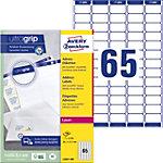 Étiquettes d'adresse Avery UltraGrip Autocollantes 38,1 x 21,2mm Blanc 100 Feuilles de 65 Étiquettes