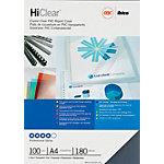 Couvertures de reliure HiClear GBC A4 PVC 180 microns Transparent 100 Unités