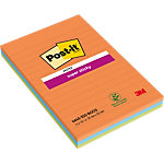 Notes Post it Super Sticky Lignées Grand format 101 x 152 mm Couleurs assorties Néon 3 Blocs de 45 Feuilles