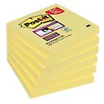 Notes Post it Super Sticky 76 x 76 mm Jaune canari Pack avantage 90 Feuilles 5 + 1 GRATUIT