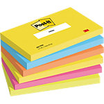 Notes adhésives Post it 76 x 127 x 76 mm Jaune, orange, vert, bleu, rose 6 Unités de 100 Feuilles