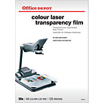Transparents Office Depot 125 Microns A4 210 x 297 mm 50 Feuilles