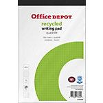 Bloc notes Office Depot Blanc A5+ Reliure supérieure Couverture en papier Quadrillé Recyclé micro perforé 50 feuilles
