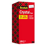 Ruban Adhésif Scotch Crystal Clear 19 mm x 33 m Transparent Pack Avantage 7 Rouleaux + 1 GRATUIT