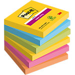 Notes adhésives repositionnables Post it Super Sticky assortiment 76 x 76 mm 6 unités de 90 feuilles 6 unités de 90 feuilles