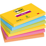 Notes adhésives repositionnables Post it Super Sticky jaune, orange, bleu, rose 127 x 76 mm 6 unités de 90 feuilles 6 unités de 90 feuilles