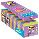 Notes Post it Super Sticky 76 x 76 mm Assortiment 90 Feuilles Pack avantage 21 + 3 GRATUITS