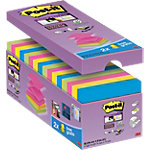 Z Notes Post it Super Sticky 76 x 76 mm Assortiment 90 Feuilles Pack avantage 14 + 2 GRATUITS