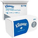 Essuie mains Kleenex Ultra 2 épaisseurs Pliage en M Blanc 15 Unités de 124 Feuilles