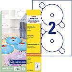Étiquettes CD et DVD autocopiantes Avery L7676 25 A4 blanc 25 Feuilles de 2 Étiquettes