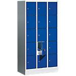Armoires à casiers C+P Sur pieds 15 Compartiments casiers Gris clair