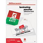 Pochettes de Plastification avec Dos Adhésif Office Depot Brillant 2 x 75 (150) Micron Transparent 100 Unités