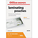 Pochettes de plastification Office Depot Brillant 2 x 125 (250) µm Transparent 100 Unités