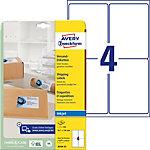Étiquettes universelles AVERY Zweckform J8169 25 QuickDry Blanc A4 99,1 x 139 mm 25 Feuilles de 4 Étiquettes