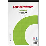 Bloc notes Office Depot Blanc A4+ Reliure supérieure Couverture en papier Quadrillé Recyclé micro perforé 50 feuilles