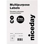Étiquettes universelles Niceday Autocollantes 105 x 57mm Blanc 100 Feuilles de 10 Étiquettes