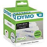 Étiquettes dossiers suspendus DYMO LW 99017 12 x 50 mm Noir sur Blanc 220 Unités