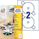 Étiquette disque optique Avery L7860 A4 blanc 20 Feuilles de 2 Étiquettes