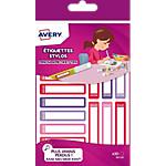 Étiquettes stylos Avery pour filles A6 Assortiment 50 x 10 mm 30 Unités
