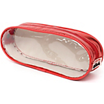 Trousse ELAMI Oxford ovale décor transparent Rouge