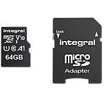 Carte mémoire micro SDXC Integral V10 64 Go Noir