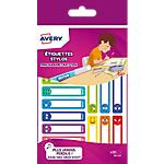 Étiquettes stylos Avery Assortiment 2 Feuilles de 15