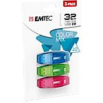Clés USB 2.0 EMTEC C410 32 Go Bleu, vert et rose   3 Unités