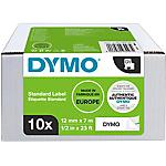 Ruban d'étiquettes  DYMO D1 Blanc 12 mm 10 Rouleaux