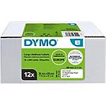 Etiquettes d'adresse DYMO LabelWriter LW 89 x 36 mm Blanc   12 Rouleaux de 130 Étiquettes