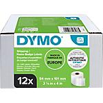 Etiquettes d'expédition DYMO LabelWriter LW Blanc 101 x 54 mm 12 Rouleaux de 220 Étiquettes