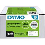 Etiquettes multi usages DYMO LabelWriter LW 57 x 32 mm Blanc   12 Rouleaux de 1000 Étiquettes