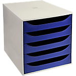 Module de classement Office Depot 5 tiroirs A4+ Polystyrène Gris, Bleu 28,4 x 34,8 x 29 cm