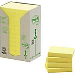 Notes adhésives recyclées Post it Jaune 24 Unités