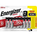 Piles alcalines Energizer Max AA   12 Unités