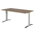 Bureau droit Dual 140 x 80 x 73 cm Imitation noyer, gris aluminium