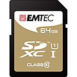 Carte mémoire SD EMTEC Gold 64 SDXC Noir, Doré