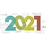 Carte de voeux 2021 avec enveloppes assorties Pano Année 20,5x9,5cm   5 Unités