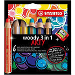 Crayons multi talents STABILO WOODY 3in1 ARTY + 1 taille crayon Assortiment   6 Unités